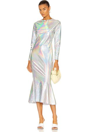 Norma Kamali Long Sleeve Crew Fishtail Dress To Midcalf in Metallic Silver