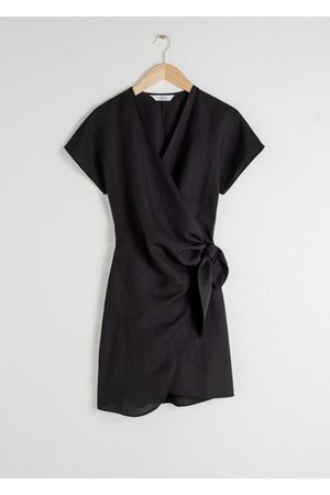 & OTHER STORIES Linen Blend Wrap Mini Dress
