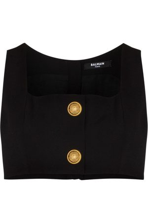 Balmain Women Crop Tops - Square-neck cropped bralette