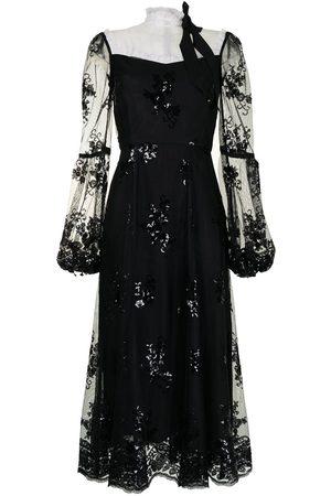 Macgraw Sheer panel sequin midi dress
