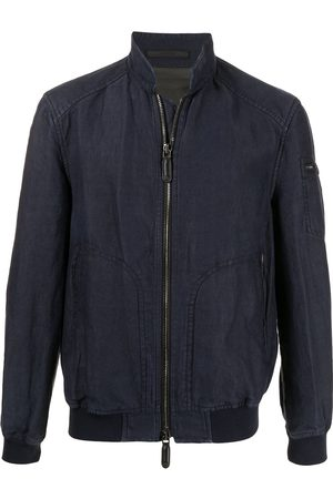 Armani Crinkled denim zip-up jacket