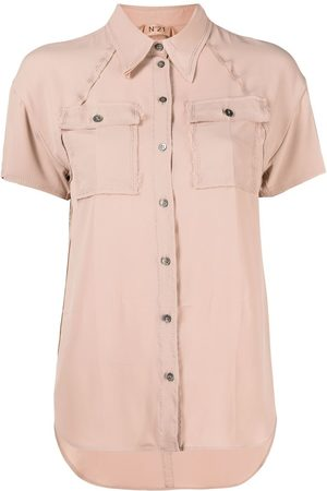 Nº21 Raw-edge short-sleeve shirt