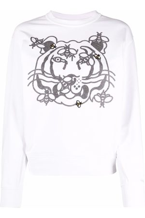 Kenzo Women Sweatshirts - Tiger-print cotton sweatshirt
