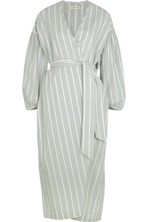 General Sleep Agnes striped cotton wrap dress