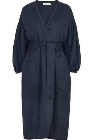 General Sleep Agnes navy cotton-blend wrap dress