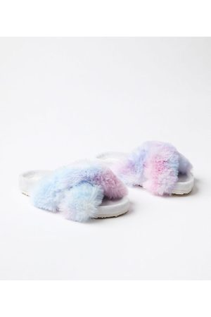 LOFT Women Slippers - Rainbow Faux Fur Indoor & Outdoor Slippers