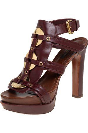 Louis Vuitton Women Platform Sandals - Burgundy Leather Embellishment Platform Open Toe Ankle Strap Sandals 38