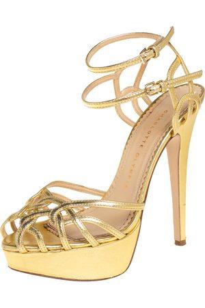 Charlotte Olympia Women Platform Sandals - Leather Octavia Platform Ankle Strap Sandals Size 37.5