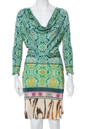 Roberto Cavalli Multicolor Printed Cowl Neck Long Sleeve Dress M