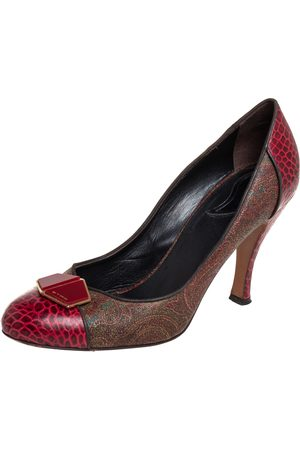 Etro Women High Heels - /Brown Croc Embossed And Coated Canvas Bow Detail Pumps Size 40
