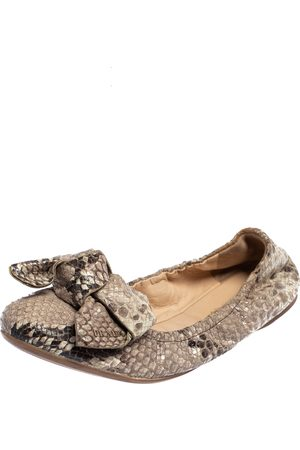 Prada Python Embossed Leather Scrunch Bow Ballet Flats Size 37.5