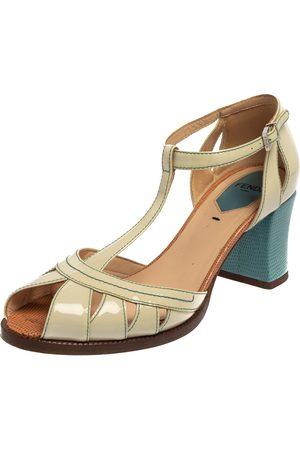 Fendi Women Heeled Sandals - /Blue Cut-Out Patent Leather And Lizard Block Heel Peep Toe Sandals Size 38.5