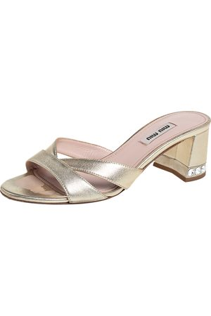 Miu Miu Metallic Leather Open Toe Crystal Embellished Block Heel Sandals Size 36