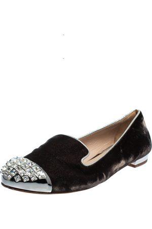 Miu Miu Velvet Embellished Smoking Slippers Size 38.5