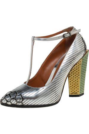 Fendi Leather T-Strap Block Heel Pumps Size 36.5