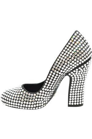 Prada Satin Crystal Embellished Block Heel Pumps Size EU 36