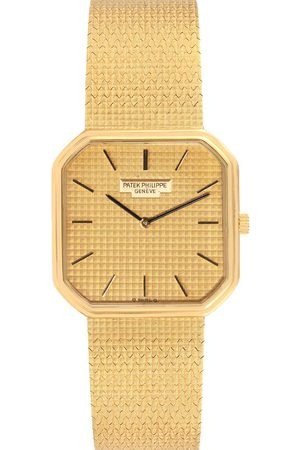 PATEK PHILIPPE Champagne 18K Yellow Mechanical 3854 Men's Wristwatch 29 MM