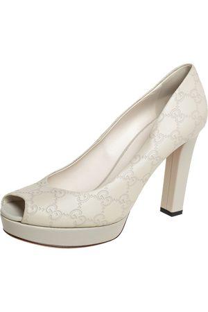 Gucci Women Platform Pumps - Grey ssima Leather Peep Toe Platform Pumps Size 39.5