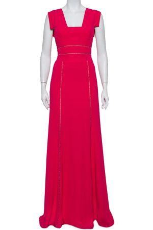 Elie saab Crepe Lace Trim Detail Paneled Gown S