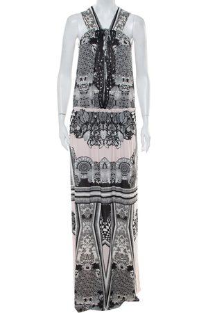 Roberto Cavalli Printed Jersey Cutwork Neckline Detail Maxi Dress S