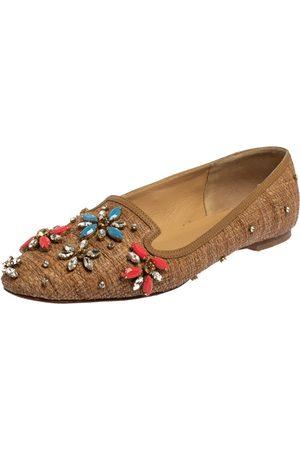 Dolce & Gabbana Raffia Embellished Smoking Slippers Size 38.5
