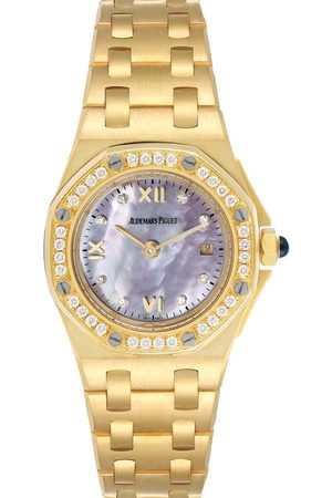 AUDEMARS PIGUET MOP Diamonds 18K Yellow Gold Royal Oak Offshore 67151BA Women's Wristwatch 29 MM