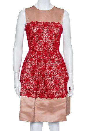 Dolce & Gabbana Satin Lace Trim Detail Sleeveless Mini Dress M