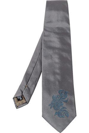 Emporio Armani Grey Floral Detail Silk Traditional Tie