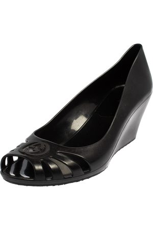 Gucci Rubber Peep Toe Wedge Pumps Size 38