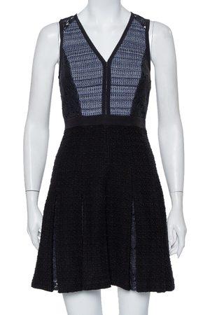 REBECCA TAYLOR Tweed & Lace Pleated Sleeveless Mini Dress S