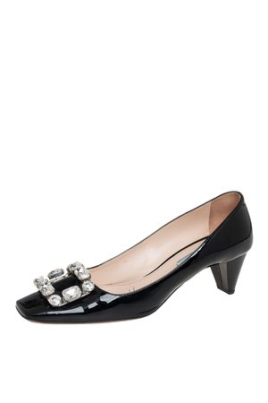 Prada Women Heeled Pumps - Patent Leather Crystal Buckle Pumps Size 40