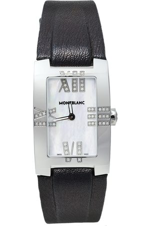 Mont Blanc Mother Of Pearl Stainless Steel Leather Profile Elegance 7183 Women's Wristwatch 24 mm