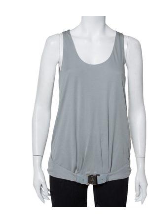 Gucci Grey Knit Leather Belt Detail Tank Top M