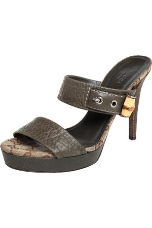 Gucci Leather Bamboo Platform Sandals Size 38