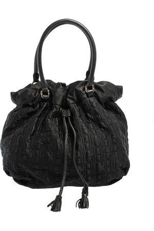 CH Carolina Herrera Carolina Herrera Embossed Nylon Bow Bucket Bag