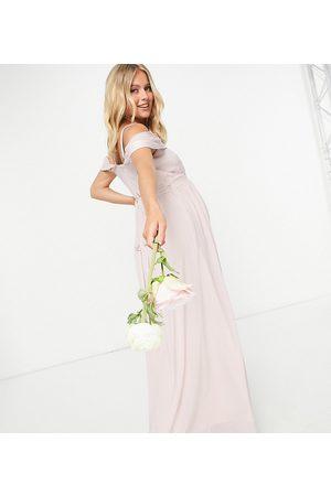 TFNC Women Asymmetrical Dresses - Bridesmaid drape shoulder asymmetric maxi dress in mink