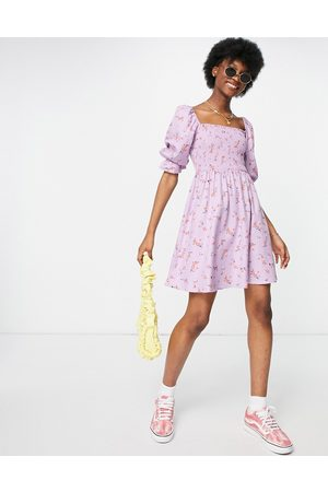New Look Women Party Dresses - Shirred mini dress in lilac floral