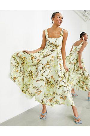 ASOS Sleeveless square neck tiered midi dress in woodland print-Multi