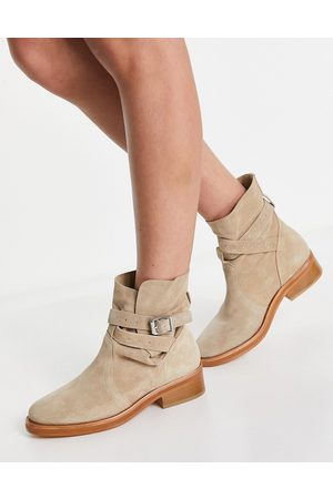 AllSaints All Saints carla stud strap ankle boots in stone suede-Neutral