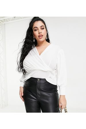 Closet Wrap blouse top with volume sleeve in ivory