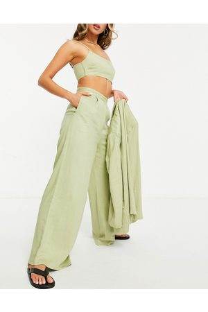 ASOS Women Wide Leg Pants - Washed linen suit wide leg pants in
