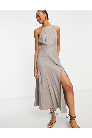 French Connection Due drape maxi dress in walnut -Grey
