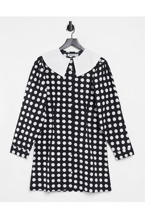 Unique 21 Women Casual Dresses - Long sleeve dress with collar in polka
