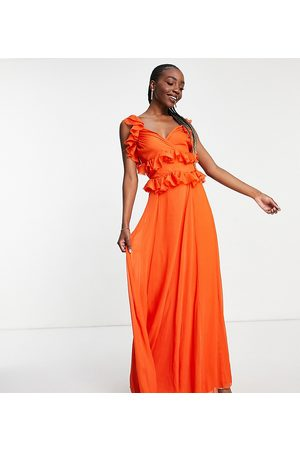 ASOS ASOS DESIGN Tall tiered ruffle maxi dress with tie back in