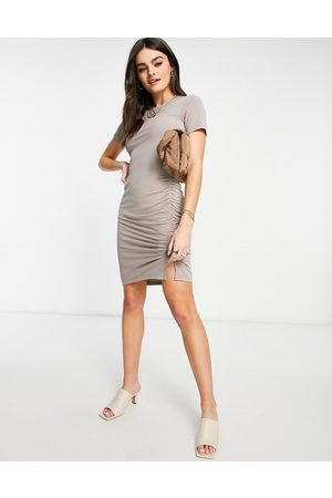 French Connection Sissy jersey mini dress in walnut gray