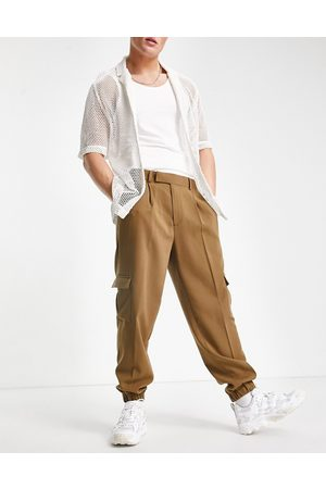 ASOS Oversized tapered cargo smart pants in tan crepe