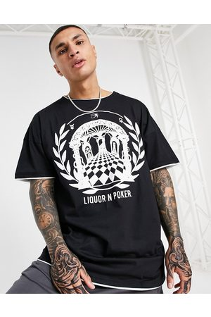 Liquor N Poker Oversized double layered t-shirt in with greek print