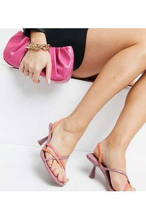 ASOS Wide Fit Whirl strappy toe thong mid heeled sandals in neon-Multi
