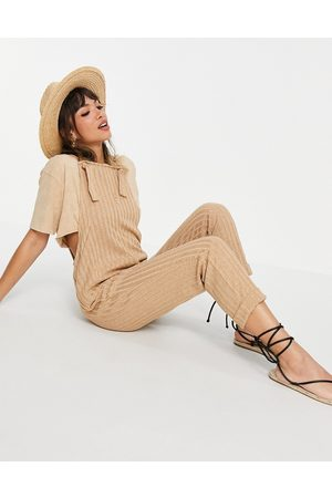 ASOS Knitted overalls jumpsuit in camel