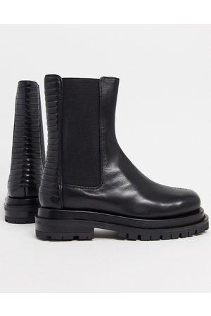ASOS Antarctic premium leather paneled chelsea boots in